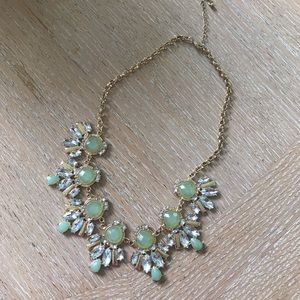 Jewelry - Green and faux-diamond fashion necklace
